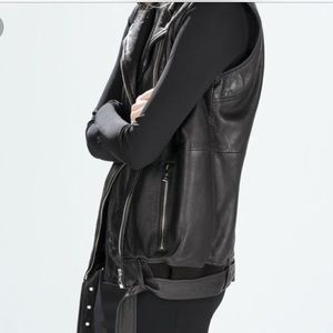 Zara Longline Genuine Leather Moto Vest